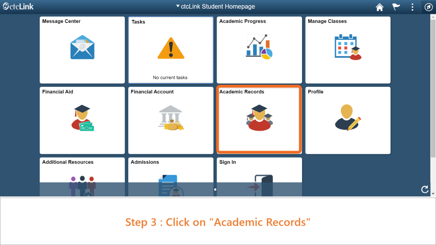 Step 3: Click on 'Academic Records'.