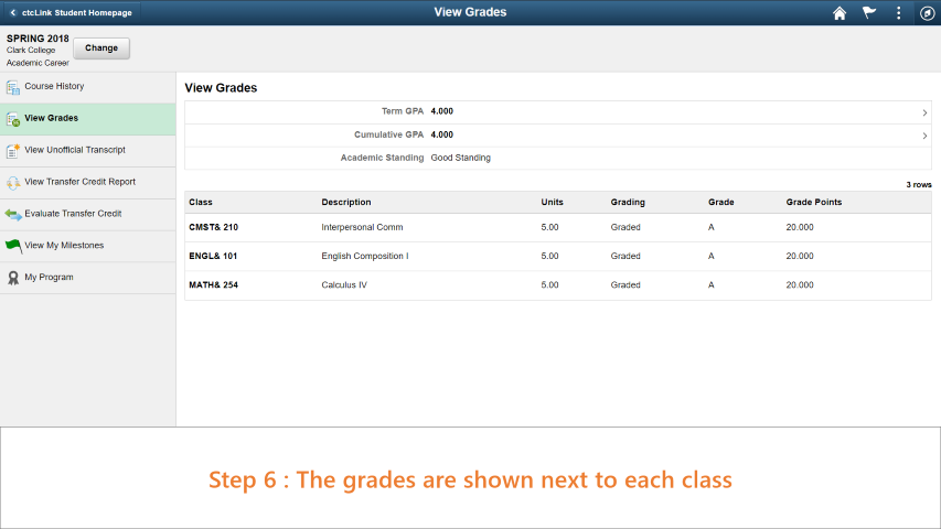 Step 6: The grades are shown next to each class.