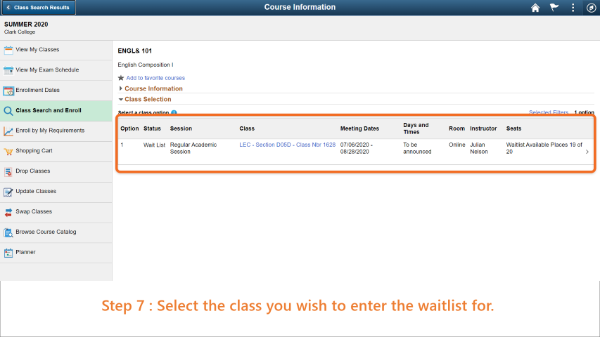 Step 7: Select the class you wish to enroll in.