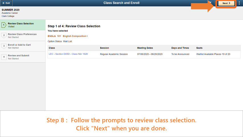Step 8: Follow prompts to review and confirm class selection and click 'Next'.