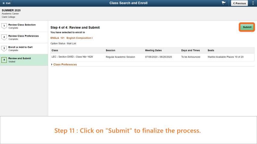 Step 11: Click on 'Submit' to finish the process.