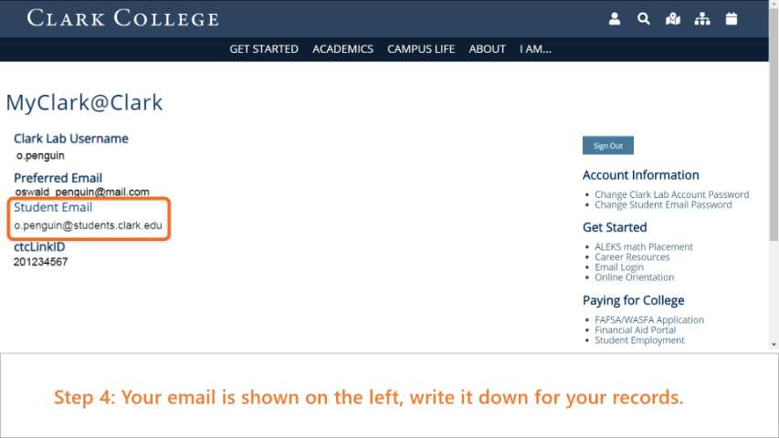 Step 4: Your student email is shown on the left of the screen along with other account information.