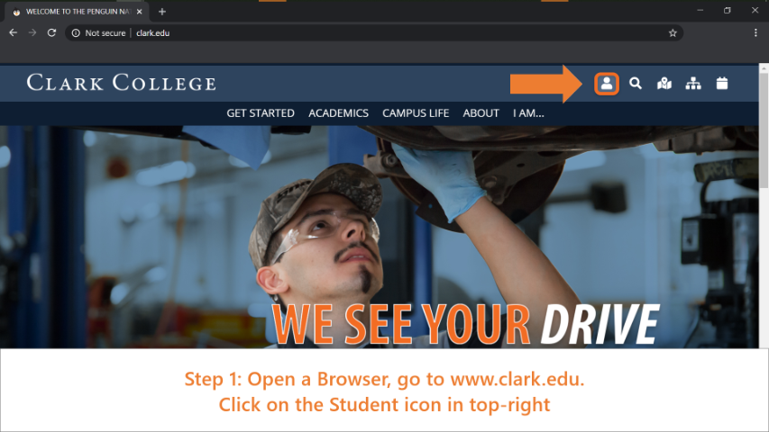 Step 1: Open a browser and go to www.clark.edu. Then click on the 'Documentation and Resources for Clark Students' icon (It looks like a small person) on the top right.