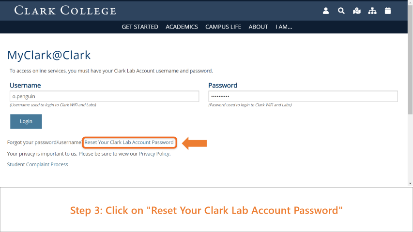 Step 3: Click on 'Reset Your Clark Lab Account Password'.