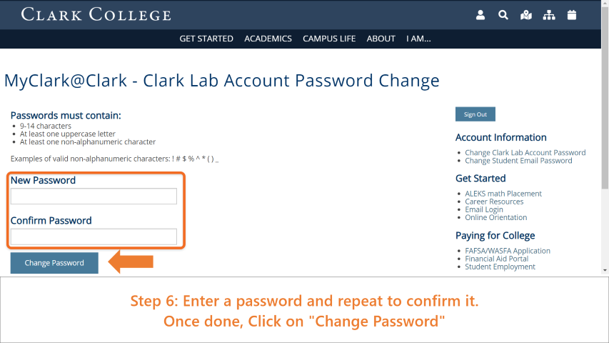 Step 6: Enter a password and repeat to confirm it. Once done, click on 'Change Password'.