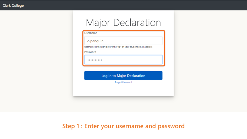Step 1: Enter your username and password.