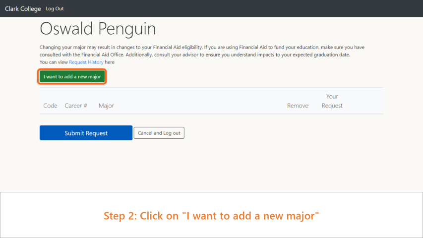 Step 2: Click on 'I want to add a new major.'