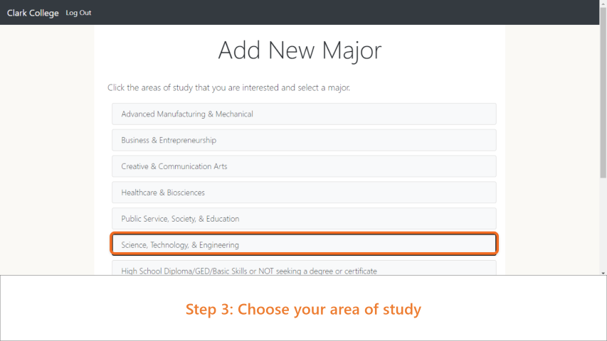 Step 3: Choose your area of study.