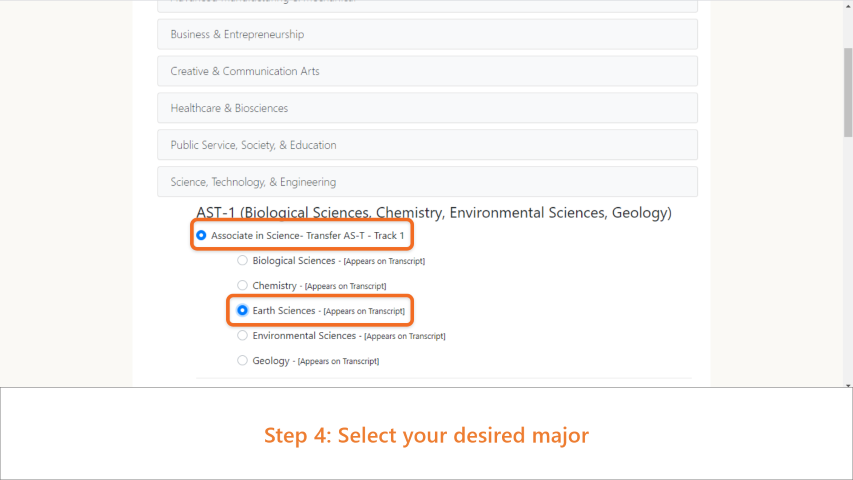 Step 4: Select your desired major.