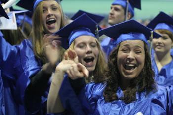 Graduates cheer and celebrate