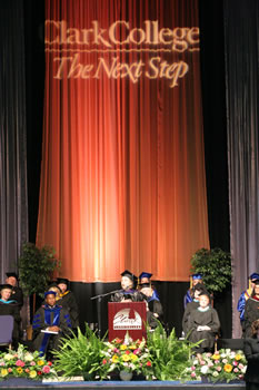 Clark County amphitheatre stage during commencement 2006