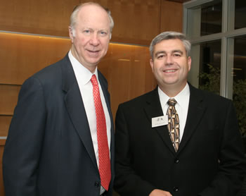 Distinguished Lecturer David Gergen and Clark College President Bob Knight