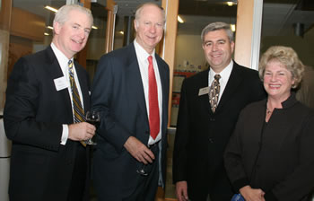 Bank of Clark County CEO Mike Worthy, Distinguished Lecturer David Gergen, Clark College President Bob Knight and Confluence Project Executive Director Jane Jacobsen