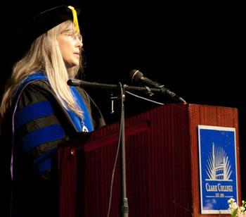 Dr. Hannah Abraham-Shea addresses 2010 Clark graduates