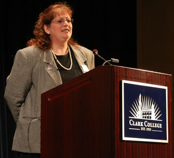 Professor Laurie Brown at the podium during the Faculty Speaker Series event