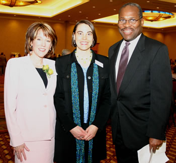 KGW-TV anchor Laural Porter; Kathy Kniep, Executive Director of YWCA Clark County; and Dr. R. Wayne Branch, President of Clark College, at the 2006 Women of Achievement Luncheon.