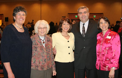 English as a Non-Native Language professor and 1985 Woman of Achievement Priscila Martins-Read, former director of women�s programs and Women of Achievement event founder Pat Watne, KGW-TV anchor and Women of Achievement emcee Laurel Porter, Clark College President Bob Knight, and YWCA Clark County Executive Director Kathy Kniep.