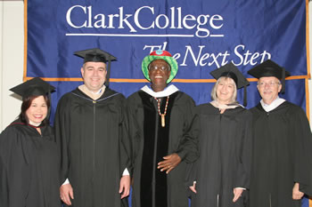 "Board of Trustees Chair Rhona Sen Hoss, Clark College President Bob Knight, Keynote speaker Wally ""Famous Amos"" Amos, Board of Trustees Vice Chair Addison Jacobs, Trustee John White"